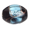 Glass Lamp Bead 15x13mm Oval Black/Aqua/Gold Silver Foiled